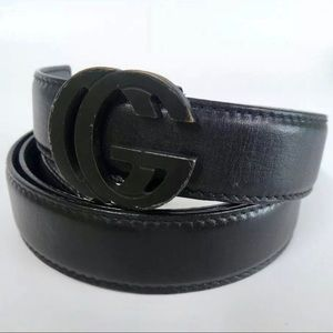 Gucci Black Matte GG Buckle on Black Leather Belt